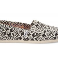 TOMS Black Kaleidoscope Canvas Women's Classics Slip-On Shoes,