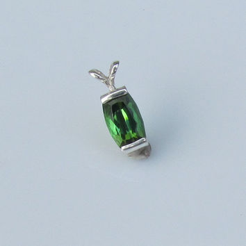 Green Tourmaline Rectangle Cushion Over 2cts Sterling Silver Pendant October Birthstone Gemstone Jewelry