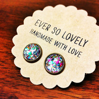 ON SALE - metallic stardust earrings - pink confetti earrings - nickel free - summer nights and starry skies - handmade