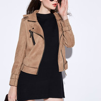 Brown Suede Lapel Jacket