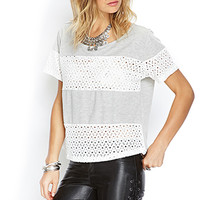 FOREVER 21 Floral Lace Paneled Top Heather Grey/White