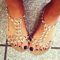 CLEAR, STUDDED SANDALS