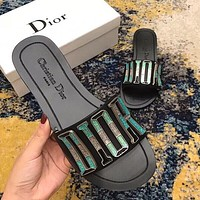 DIOR Trending Woman Stylish Flat Sandals Slipper Shoes I-ALXY
