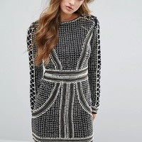 Missguided Peace + Love Pearl Embellished Mini Dress at asos.com