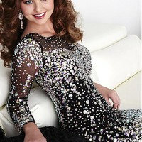 [134.99] ExquisiteTulle Bateau Neckline Long Sleeves Sheath Homecoming Dresses with Beadings & Rhinestones - dressilyme.com