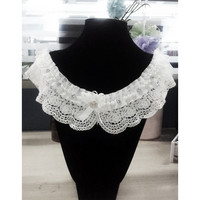 SZ Hot Lace Collar - White Cotton Faux Pearl Lace Collar Sewing Applications