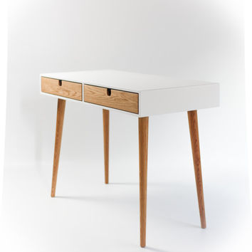 Desk lacquered in white and oak drawers , Bureau , dressing table , office desk, Classic, Mid Century, Modern.