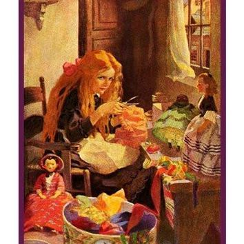 Little Girl Making Dresses for Her Dolls By Jessie Willcox Smith Counted Cross Stitch Pattern