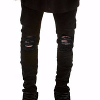Men's Black Distressed Skinny Jeans