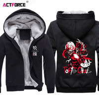 Japanese Anime Tokyo Ghoul Hoodie Ken Kaneki Cosplay Zip Fleece Cardigan Men Casual Fur Collar Jacket Autumn Winter Sweatshirt