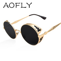 Steampunk Vintage Sunglass 2015 fashion round sunglasses women brand designer metal carving sun glasses men oculos de sol S1635
