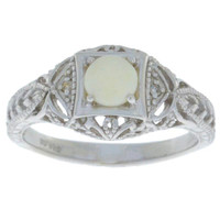 Natural Opal & Diamond Round Ring .925 Sterling Silver