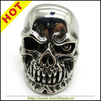 Free Shipping, High Quality Men Boys Silver Biker Rings Stainless Steel Ghost Terminator Skull Ring Gothic Jewely