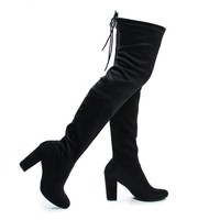 Snivy Black Suede OTK Over The Knee Thigh High Slouchy Boots w/ Back Lace Tie & Block Heel