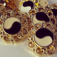 """Gold Intricate Plugs w/ Ying Yang Center - 1/2"""", 9/16"""", or 5/8"""""""