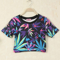 Black Leaves Print Short Sleeve Graphic Cropped T-Shirt