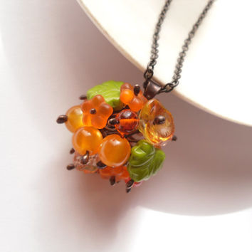 Statement necklace, bohemian jewelry, orange pendant, glass beaded necklace, woman gift, birthday gift, flower jewelry, Spring berry