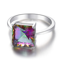 Mystic Topaz Rainbow Reflection Silver Sterling 925 Ring.