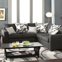 Cranbrook contemporary style medium gray fabric Sectional sofa with square arms and throw pillows Made in the USA