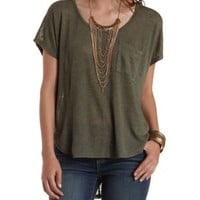 Slub Knit Slouchy Pocket Tee by Charlotte Russe