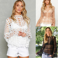 Fashion Lace Women Long Sleeve Stand Collar _ 10276