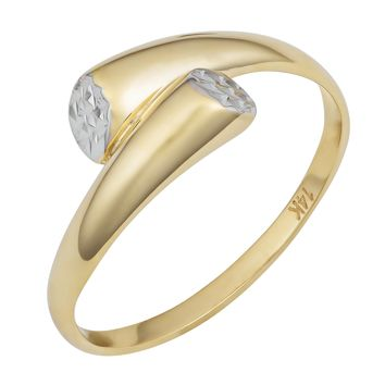 14k Two Tone Gold Diamond Cut Bypass Ring