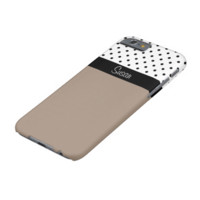 Monogram Straw Brown, Black White Dots Color Block Barely There iPhone 6 Case