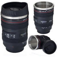 Camera Lens Cup 24-105 Coffee Tea Travel Mug Thermos Lid Stainless Steel