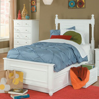 Homelegance Morelle Captain's Bed w/ 3 Drawer Toy Box in White
