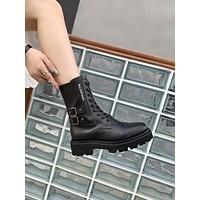 Balenciaga Trending Women's Black Leather Side Zip Lace-up Ankle Boots Shoes High BootsBalenciaga Trending Women's Black Leather Side Zip Lace-up Ankle Boots Shoes High Boots
