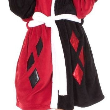 Harley Quinn Diamonds Costume Bath Robe Fleece DC Comics Bathrobe