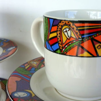 1991 METROPOLITAN DISHWARE by VITROMASTER - Flat Cup & Saucer Set with Creamer - Stoneware Dishes - Colorful Coffee Cups - Mug Set for 4