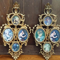 Vintage Ornate Gold Toned Hollywood Regency Style Frames Set of 2