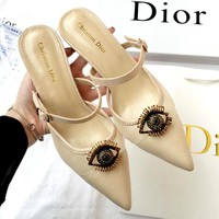 Dior 2019 new metal eye lip high heel sandals and slippers