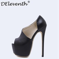 DEleventh New Arrival Sexy Black Stiletto Shoes Woman Pumps Ultrahigh Peep Toe High Heels Party Evening NightClub Shoes 16cm 40