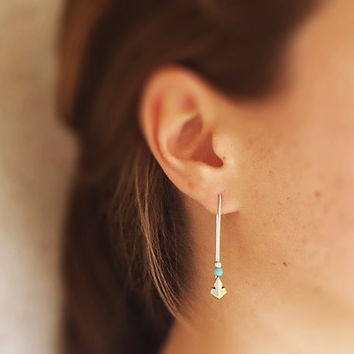 Tribal Ethnic Boho Sterling Silver and turquoise Stone bead Long Earrings - Original Faceted Arrow Tribal Indian - Contemporary Jewelry