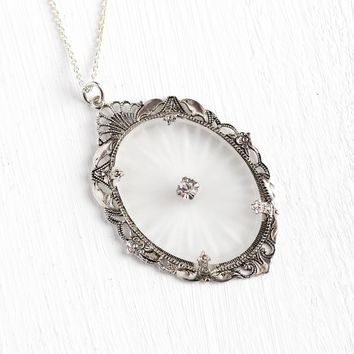 Camphor Glass Necklace - Antique 1920s Sterling Silver Rhinestone Pendant Lavalier - Vintage Art Deco Era Filigree Statement Flapper Jewelry