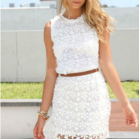 Lace hollow out backless Dress VD1117CJ
