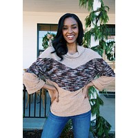 Valmont Mixed Knit Sweater, Camel Multi