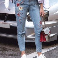 Floral Embroidered Mom Jeans - Jeans - Clothing