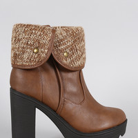 Soda Sweater Cuff Lug Sole Heeled Ankle Boots