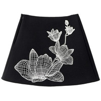 Black A-line Mini Skirt With Lotus Flower Print - Choies.com