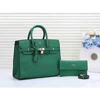 Hermes Women Leather Fashion Handbag Tote Crossbody Shoulder Bag Set Two Piece