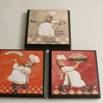 Kitchen Chef Room Wall Plaques - Set of 3 Chef Kitchen Room Decor - Chef Cook Room Signs