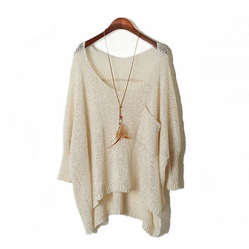 Concise Design Batwing Loose Sweater Off-white