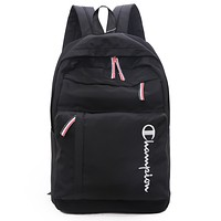 Champion tide brand men's and women's simple fashion canvas backpack Black