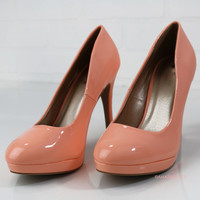 Walk This Way Peach Patent Heels