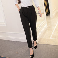 Women's Trending Popular Fashion 2016 Loose High Waisted Business Casual Suit Trousers Pants _ 5464