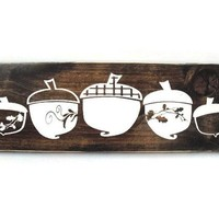 Autumn Fall or Thanksgiving Rustic Wood Acorn Sign Home Decor (#1224)