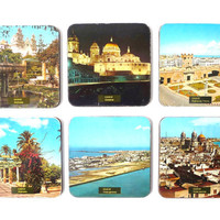 """Six Glass Coasters - Cadiz Images - Spain - Plywood covered with """"Postcard"""" Paper"""